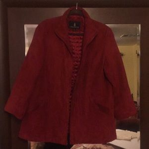London fog faux suade red coat size Xl WASHABLE